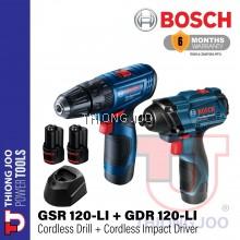 BOSCH GSR 120-LI CORDLESS DRILL + GDR 120-LI CORDLESS IMPACT DRIVER COMBO