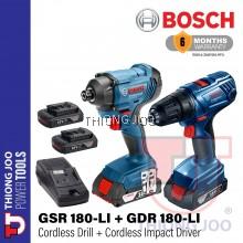 BOSCH GSR 180-LI CORDLESS DRILL/DRIVER + GDR 180-LI CORDLESS IMPACT DRIVER COMBO